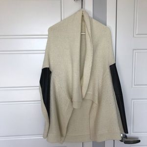 Open cream cardigan with faux leather sleeves